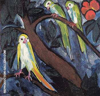 Parrots 1910 By Natalia Goncharova - Oil Paintings & Art Reproductions - Reproduction Gallery