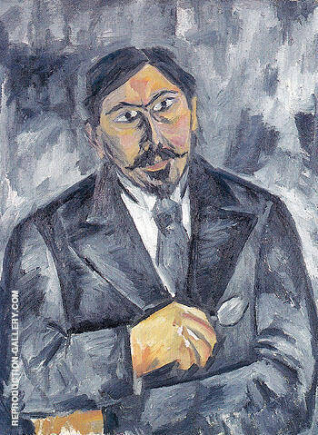 Portrait of an Unknown Man in Black c1910 By Natalia Goncharova - Oil Paintings & Art Reproductions - Reproduction Gallery
