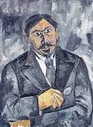 Portrait of an Unknown Man in Black c1910 By Natalia Goncharova