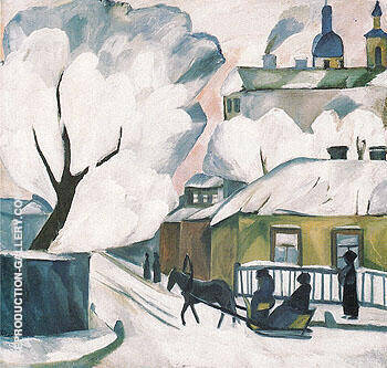 Moscow Winter c1910 By Natalia Goncharova - Oil Paintings & Art Reproductions - Reproduction Gallery