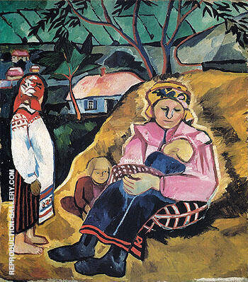 Mother 1910 By Natalia Goncharova - Oil Paintings & Art Reproductions - Reproduction Gallery