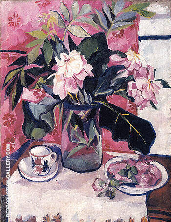 Still Life with Peonies 1910 By Natalia Goncharova