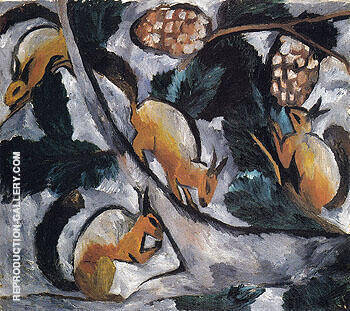 Reproduction of Squirrels 1910 by Natalia Goncharova | Oil Painting Replica On CanvasReproduction Gallery