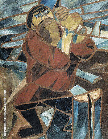 Wood Slicer 1910 By Natalia Goncharova - Oil Paintings & Art Reproductions - Reproduction Gallery