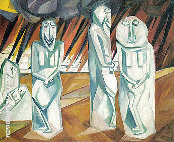 Pillars of Salt c1910 By Natalia Goncharova - Oil Paintings & Art Reproductions - Reproduction Gallery