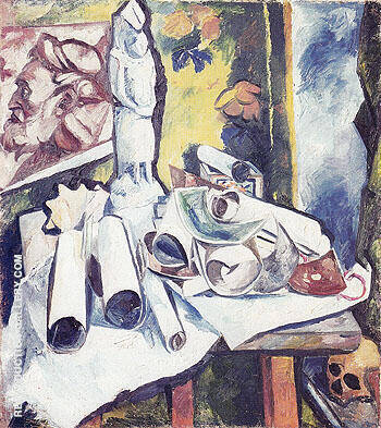 Still Life Scrolls and Stela c1910 By Natalia Goncharova
