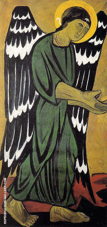 Reproduction of Archangel In Green by Natalia Goncharova | Oil Painting Replica On CanvasReproduction Gallery
