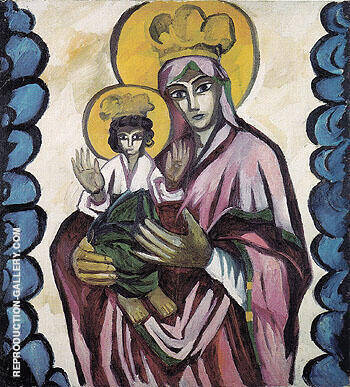 Mother of God With Ornamental Design c1910 Painting By Natalia Goncharova