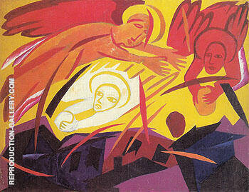 Angels Stoning a City 1911 By Natalia Goncharova - Oil Paintings & Art Reproductions - Reproduction Gallery