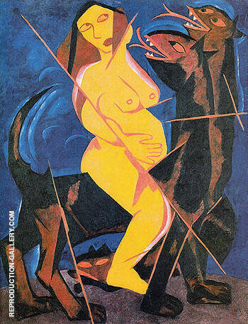Reproduction of The Woman on the Beast 1911 by Natalia Goncharova | Oil Painting Replica On CanvasReproduction Gallery