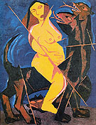 The Woman on the Beast 1911 By Natalia Goncharova