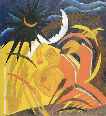 Reproduction of Reaping 1911 by Natalia Goncharova | Oil Painting Replica On CanvasReproduction Gallery