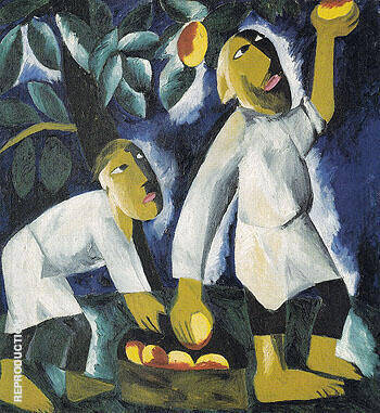 Peasants Picking Apples 1911 By Natalia Goncharova Replica Paintings on Canvas - Reproduction Gallery