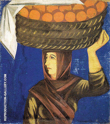 Woman Carrying Oranges c1910 By Natalia Goncharova