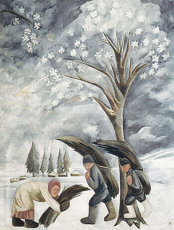 Winter Collecting Brushwood 1911 Painting By Natalia Goncharova