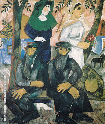 Jews Shabbat 1911 By Natalia Goncharova - Oil Paintings & Art Reproductions - Reproduction Gallery