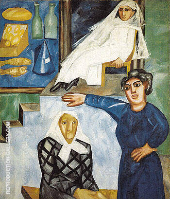 Jews on a Street 1912 By Natalia Goncharova
