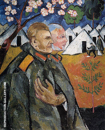 Portrait of Mikhail Larionov and His Platoon Commander 1911 By Natalia Goncharova Replica Paintings on Canvas - Reproduction Gallery