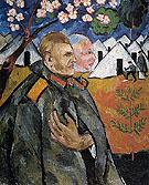 Portrait of Mikhail Larionov and His Platoon Commander 1911 By Natalia Goncharova