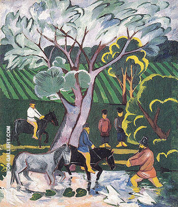 Bathing Horses 1911 By Natalia Goncharova - Oil Paintings & Art Reproductions - Reproduction Gallery