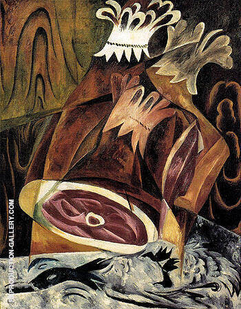 Still Life with Ham and Duck 1912 By Natalia Goncharova