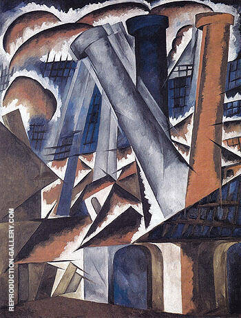 Factory 1912 By Natalia Goncharova - Oil Paintings & Art Reproductions - Reproduction Gallery