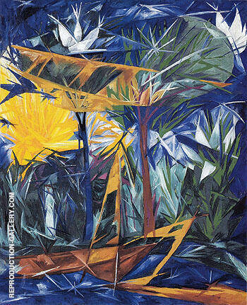 Rayonist Forest Yellow and Green 1913 By Natalia Goncharova - Oil Paintings & Art Reproductions - Reproduction Gallery