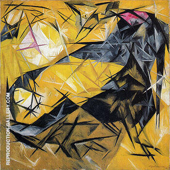 Cat Rayonist Perception in Pink Black and Yellow 1913 By Natalia Goncharova - Oil Paintings & Art Reproductions - Reproduction Gallery