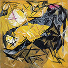 Cat Rayonist Perception in Pink Black and Yellow 1913 By Natalia Goncharova