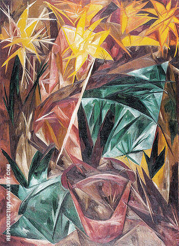 Rayonist Lilies 1913 By Natalia Goncharova - Oil Paintings & Art Reproductions - Reproduction Gallery