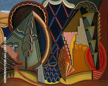 Composition Landscape at Ceret 1919 By Auguste Herbin Replica Paintings on Canvas - Reproduction Gallery