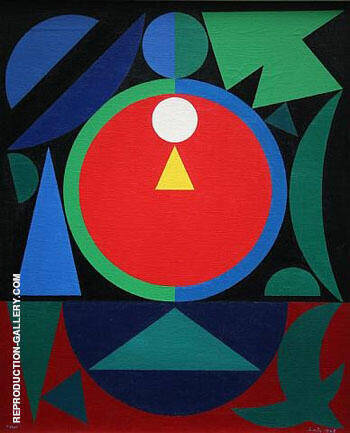Reproduction of Eros I 1948 by Auguste Herbin | Oil Painting Replica On CanvasReproduction Gallery