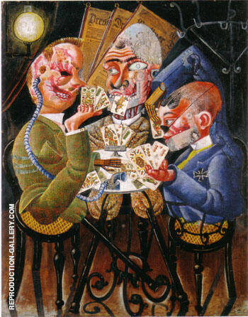 Skat Players 1920 By Otto Dix - Oil Paintings & Art Reproductions - Reproduction Gallery