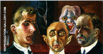 Group Portrait Giinther Franke Paul Ferdinand Schmidt and Karl Nierendorf 1923 By Otto Dix Replica Paintings on Canvas - Reproduction Gallery