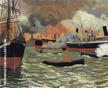Hamburgs Port 1907 By Auguste Herbin Replica Paintings on Canvas - Reproduction Gallery