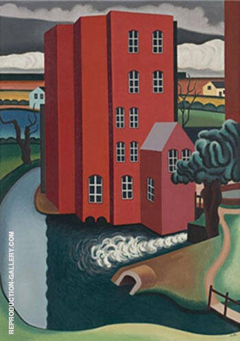 La Maison Rouge 1925 By Auguste Herbin Replica Paintings on Canvas - Reproduction Gallery