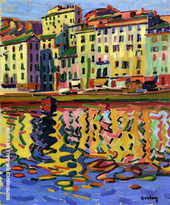 Reproduction of The Quays of The Port of Bastia 1907 by Auguste Herbin | Oil Painting Replica On CanvasReproduction Gallery