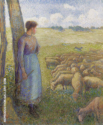 Shepherdess 1887 By Camille Pissarro - Oil Paintings & Art Reproductions - Reproduction Gallery