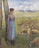 Shepherdess 1887 By Camille Pissarro