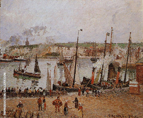 Port of Dieppe Rainy Morning 1902 Painting By Camille Pissarro