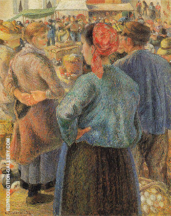 The Poultry Market at Pontoise 1882 By Camille Pissarro - Oil Paintings & Art Reproductions - Reproduction Gallery