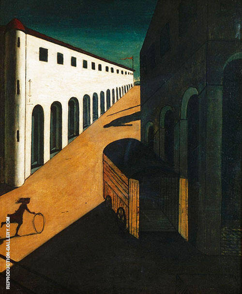 The Mystery and Melancholy of a Street 1914 By Giorgio de Chirico Replica Paintings on Canvas - Reproduction Gallery