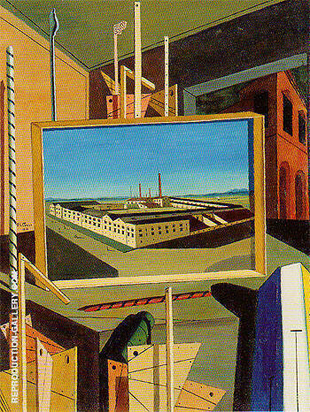 Metaphysical Interior with Large Building 1916 Painting By ...