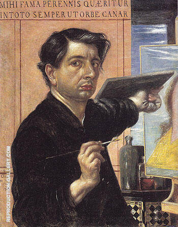 Self Portrait with Palette 1924 By Giorgio de Chirico