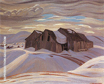 Reproduction of Barns c1926 by A Y Jackson | Oil Painting Replica On CanvasReproduction Gallery