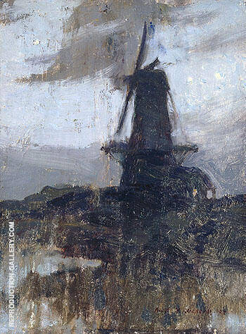 A Dutch Windmill at Night 1909 By A Y Jackson - Oil Paintings & Art Reproductions - Reproduction Gallery