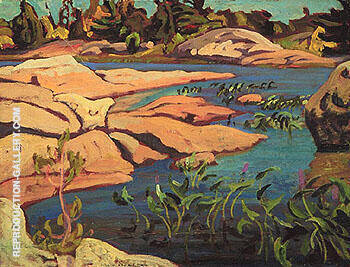 Pickerel Weed Georgian Bay c1932 By A Y Jackson - Oil Paintings & Art Reproductions - Reproduction Gallery