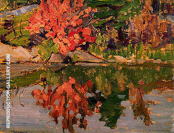 Red Trees Reflected in Lake 1913 By A Y Jackson Replica Paintings on Canvas - Reproduction Gallery