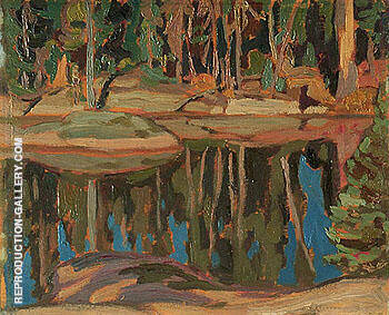 Reproduction of Reflections in a Lake c1919 by A Y Jackson | Oil Painting Replica On CanvasReproduction Gallery