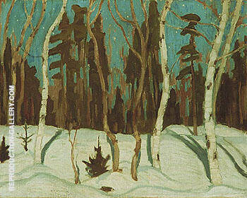 Winter Moonlight 1921 By A Y Jackson - Oil Paintings & Art Reproductions - Reproduction Gallery